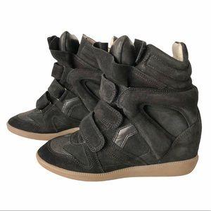 ISABEL MARANT Black Suede Wedge Sneakers Shoes 36